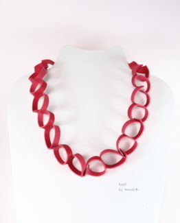 Collier Kazh by Annie B collection Déchainée en cuir rose fraise