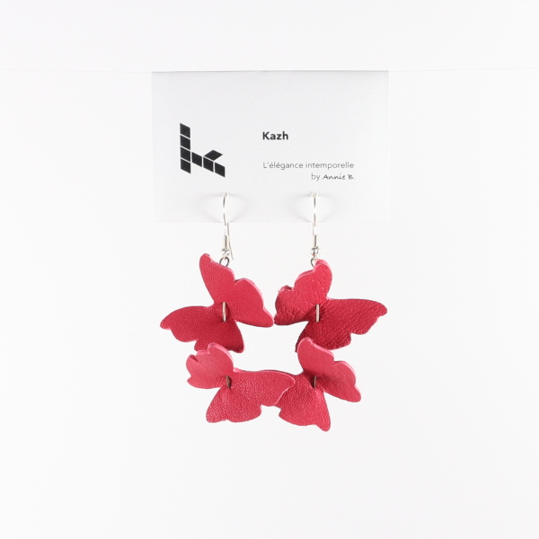 Collection Papillons de Kazh By Annie B. Boucles d'oreilles rose fraise